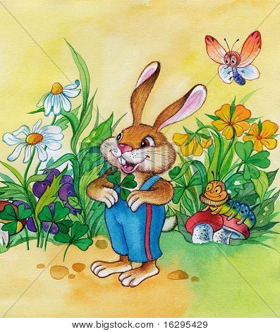 Fantastic hare with a caterpillar and the butterfly