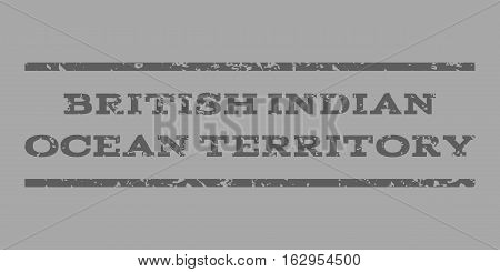 British Indian Ocean Territory watermark stamp. Text tag between horizontal parallel lines with grunge design style. Rubber seal stamp with scratched texture.