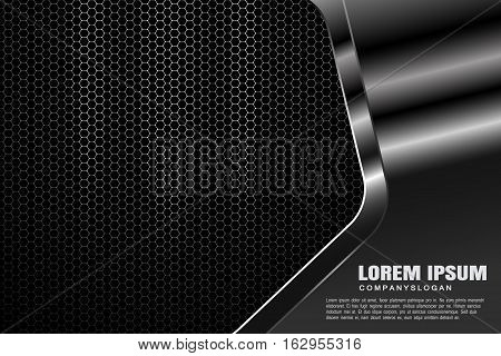 Vector hexagon gradient gray mesh background with three light sources and metal shape with radiance for business.