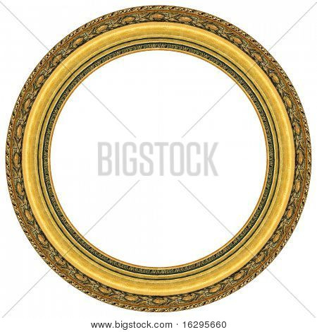 Oval gold picture frame with a decorative pattern
