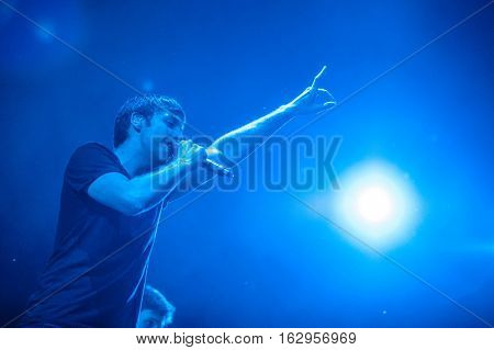 BELGRADE, SERBIA - JUNE 27TH: EXAMPLE (ENGLISH SINGER, SONGWRITER AND RAPPER) PERFORMING ON BELGRADE CALLING FESTIVAL ON JUNE 27TH 2012, IN BELGRADE, SERBIA