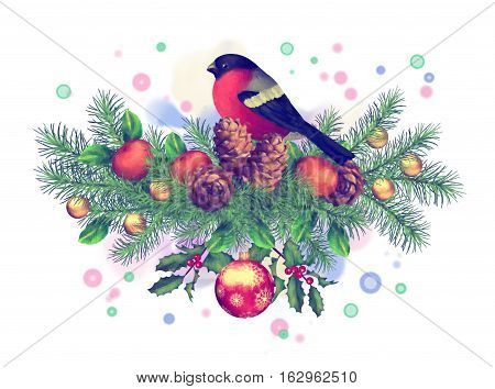 Merry Christmas Watercolor Drawing. Holiday Composition of the Christmas decorations with bird bullfinch