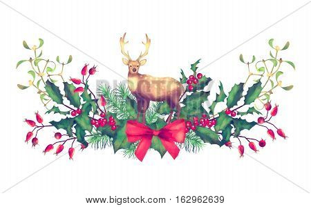 Christmas Watercolor Garland. Holiday decorations with a deer on white background