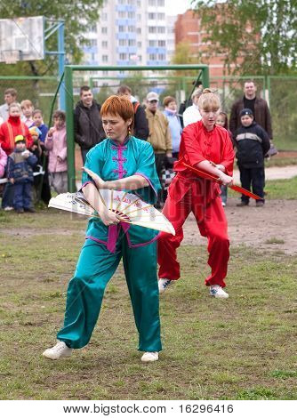 VITEBSK, BELARUS - May 16: Performance of group of oriental combat sports on sports holiday May, 16, 2009 in Vitebsk, Belarus