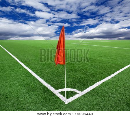 Red flag in a football ground corner