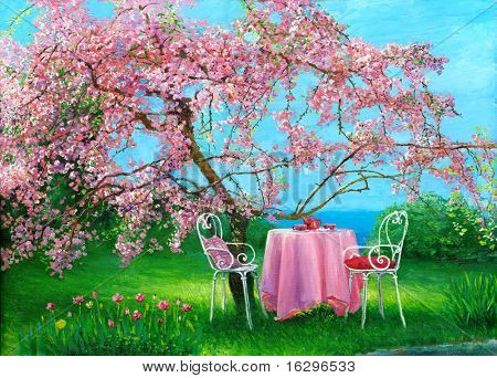 Blossoming plum in a spring garden