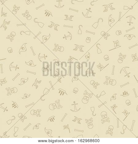 Pirates Themed Freehand Drawings Seamless Pattern. Hand Drawn Pirate Elements Background. Ship, Skull, Hook, Anchor, Bones, Flag, Saber.