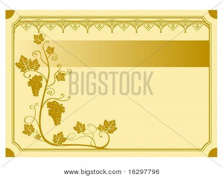 A grape vine background label. Vector illustration.