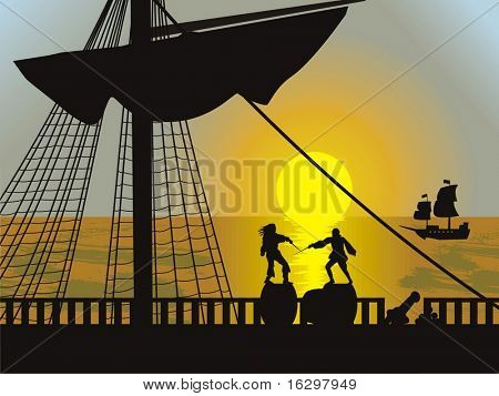 pirates background. Vector illustration.