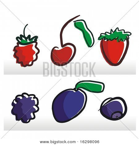 raspberry, cherry, strawberry, blackberry, plum, bilberry