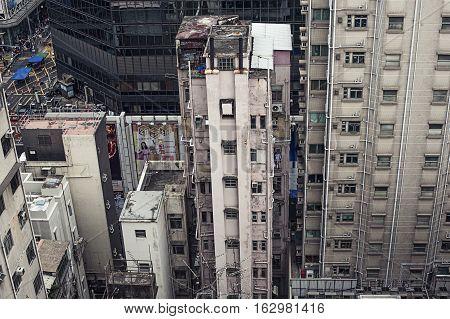 Hong Kong, China - November 13, 2014 Old multi-storey building
