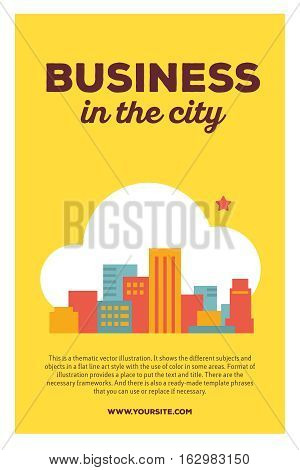 Vector Creative Colorful Illustration Of Modern City In The Cloud With Header Business In The City A