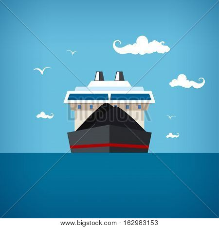 Dry cargo ship at the blue ocean among seagulls and clouds transports coal