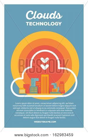 Vector Creative Colorful Illustration Of Modern City In The Cloud With Header Clouds Technology And