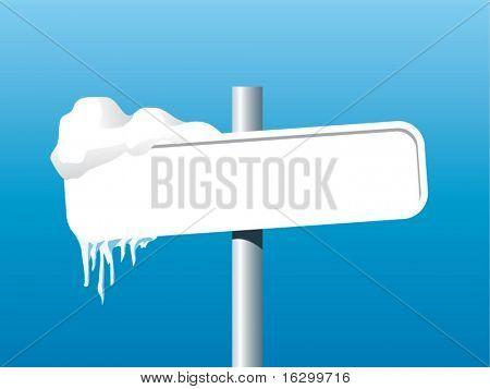 frozen signpost