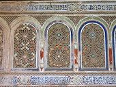 Oriental Architecture With Azulejos And Painted Stuc On A Wall, Bahia Palace, Marrackech, Morocco poster