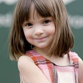 pic of cute little girl  - Portrait of a little girl with big brown eyes - JPG
