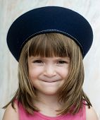 picture of french beret  - Girl wearing french beret - JPG