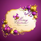 image of merry christmas  - beautiful purple christmas background - JPG