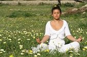 meditation in a flower field
