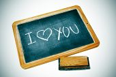 stock photo of escuela  - I love you drawn on a blackboard chalk - JPG