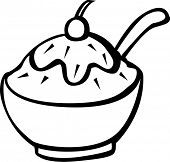 pic of ice cream sundaes  - ice cream bowl with spoon - JPG