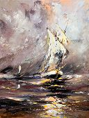 Sailing vessel in a stormy sea