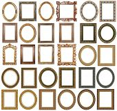 30 picture gold frames with a decorative pattern