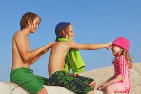 stock photo of sun tan lotion  - sun protection - JPG