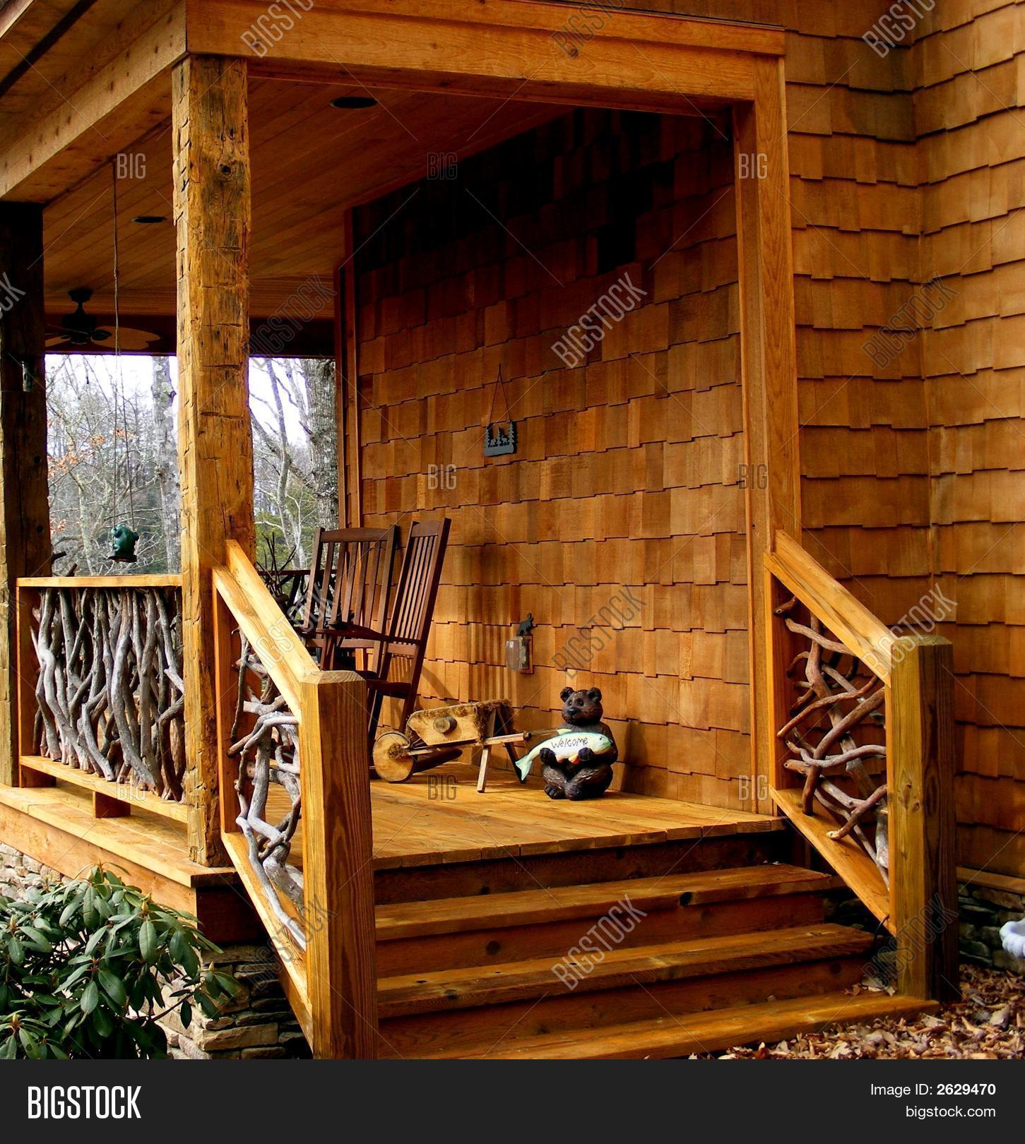 Country Home Deck - Unique Railing Image & Photo