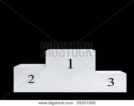 White podium over black background