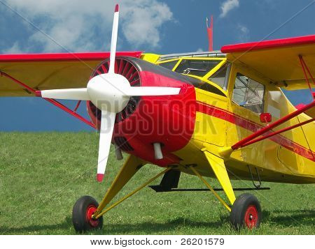 Airplane with four-bladed propeller