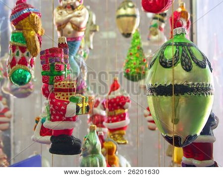 Display of assorted christmas balls