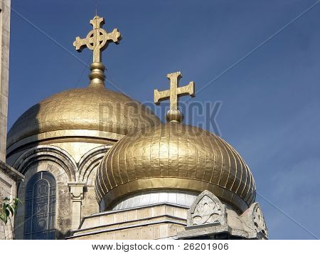 Golden domes of the orthodox Assumption Cathedral of Modern Byzantine style in Varna, Bulgaria