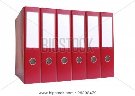 Row of six red ring binders over white background