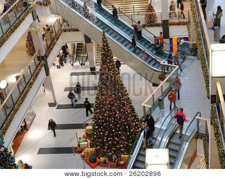 Giant christmas tree in multilevel shopping mall