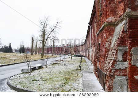 Wall Of The Brest Fortress In Brest