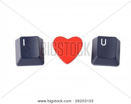 I Love You acronym arranged from computer keyboard keys I and U and red heart shape isolated on white