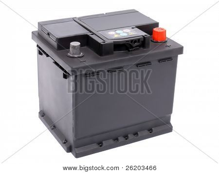 New 12V car battery isolated on white background