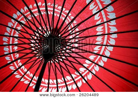 Underneath the red Japanese umbrella with spiral flower