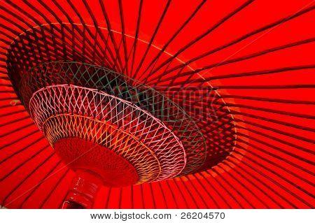 Design Underneath the Red Japanese Umbrella