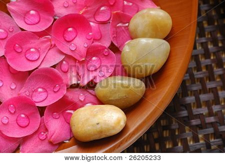 Floral scented water and therapy stones