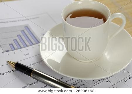 A cup of tea on business performance report
