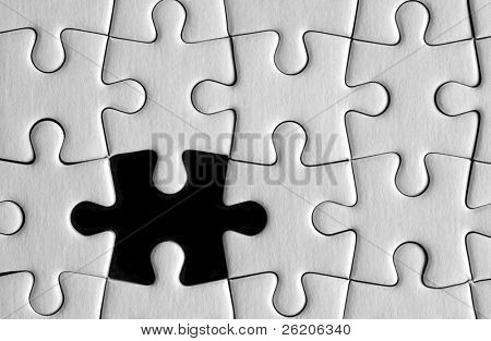Puzzle details with one piece missing