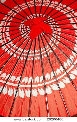 Japanese umbrella with spiral flowers