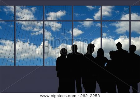 A Business Team silhouette next to the Board Room windows