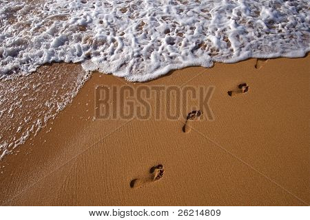 Tropical Hawaiian beach and rolling surf on the island of Kauai