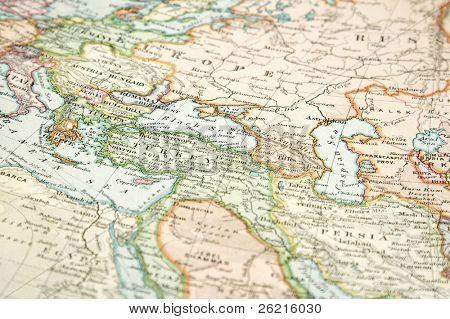 Jahrgang (1907 urheberrechtlich geschützt abgelaufen) Karte von Europa und Asien