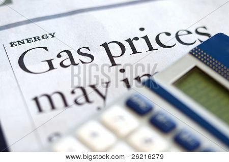 High price for energy and gasoline in a news article headline