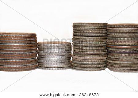 Stacks of silver dollars and half dollars